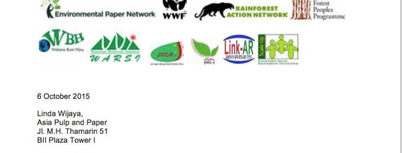 Following forum in Jakarta, NGOs send letter to Asia Pulp & Paper urging reform
